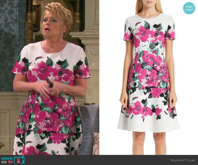 St John Collection Vibrant Blooming Jacquard Fit & Flare Dress worn by Adrienne Johnson Kiriakis (Judi Evans) on Days of our Lives