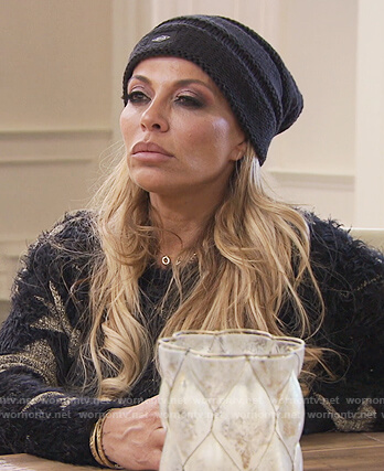 Dolores black fuzzy star sweater on The Real Housewives of New Jersey