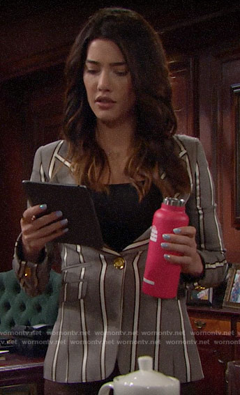 Steffy's grey striped blazer on The Bold and the Beautiful