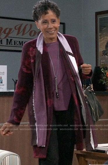 Stella's burgundy floral jacket on General Hospital