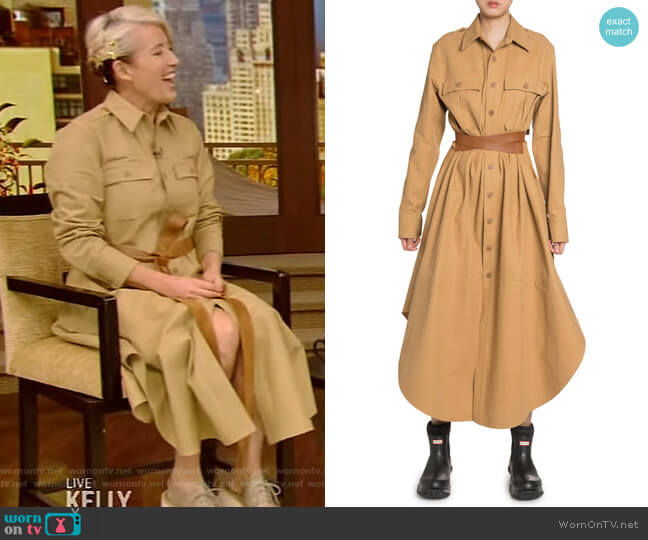 Cotton Belted Maxi Shirtdress by Stella McCartney worn by Emma Thompson on Live with Kelly and Ryan