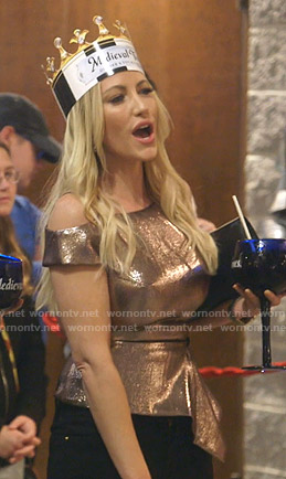 Stephanie's metallic peplum top on The Real Housewives of Dallas