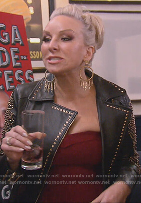 Margaret black studded jacket on The Real Housewives of New Jersey