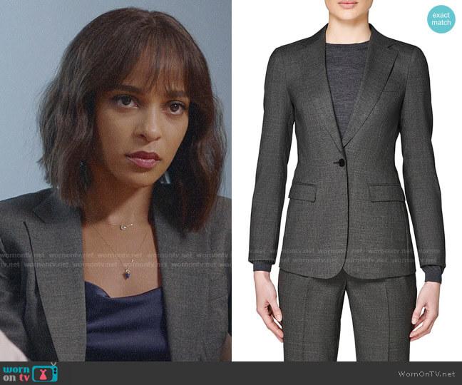 Suistudio Cameron Wool Suit Jacket in Grey worn by Edie Palmer (Megalyn Echikunwoke) on Almost Family