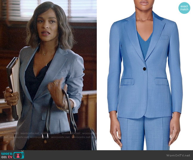 Suistudio Cameron Wool Suit Jacket in Light Blue worn by Edie Palmer (Megalyn Echikunwoke) on Almost Family