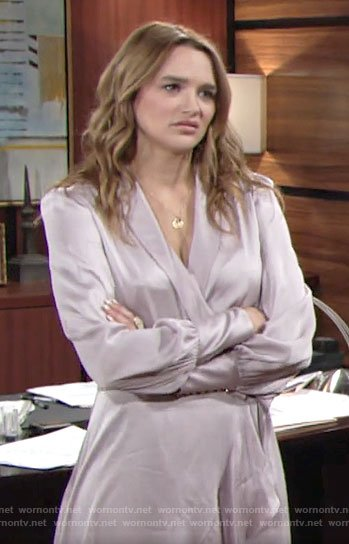 Summer's lilac wrap dress on The Young and the Restless