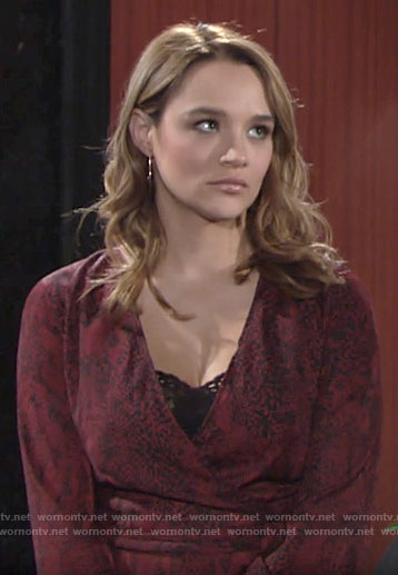 Summer's red snake print wrap dress on The Young and the Restless
