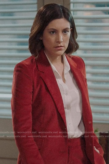 Sydney's red corduroy suit on Bluff City Law