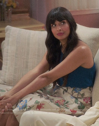 Tahani's floral skirt on The Good Place