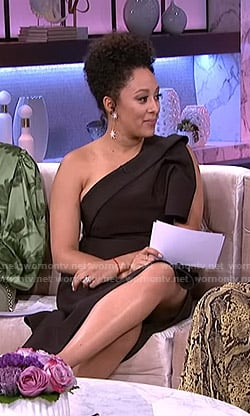 Tamera's black asymmetric one-shoulder dress on The Real