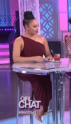 Tamera's burgundy one-shoulder ruched dress on The Real