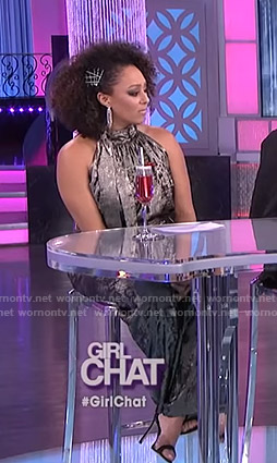 Tamera's metallic halter top and pants on The Real