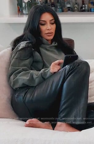 Kim's teal hoodie on Keeping Up with the Kardashians