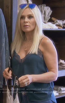 Tamera's teal lace trim cami on The Real Housewives of Orange County