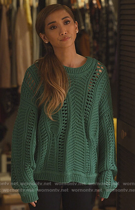 Madison's green open knit sweater on Dollface