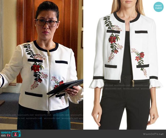 Ted Baker Aimmii Embroidered Jacket worn by Sherri Kansky (Ruthie Ann Miles) on All Rise