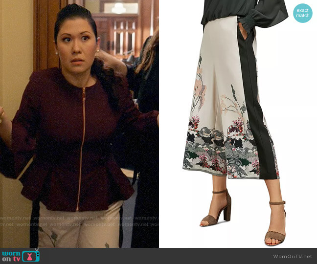 Ted Baker Karllaa Willow Print Culottes worn by Sherri Kansky (Ruthie Ann Miles) on All Rise