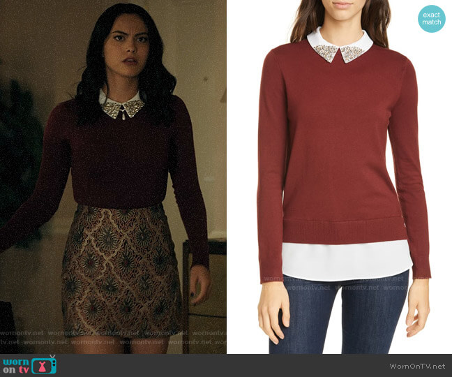Ted Baker Liaylo Sparkle Collar Layered Sweater worn by Veronica Lodge (Camila Mendes) on Riverdale