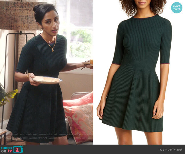 Renyina Tipped Sweater Skater Dress by Ted Baker worn by Mallory Modi (Kiran Deol) on Sunnyside