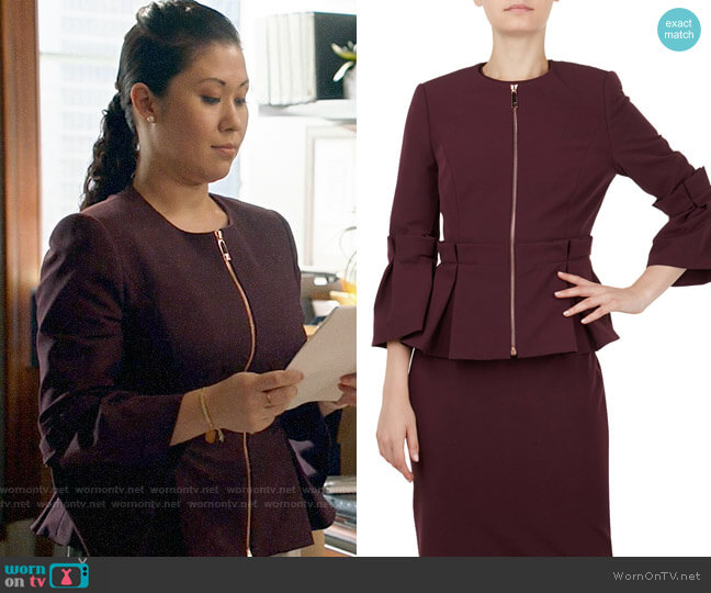 Ted Baker Maggi Pleated Peplum Jacket worn by Sherri Kansky (Ruthie Ann Miles) on All Rise