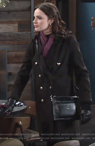 Tessa's black coat on The Young and the Restless