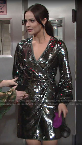 Tessa's sequin wrap dress on The Young and the Restless