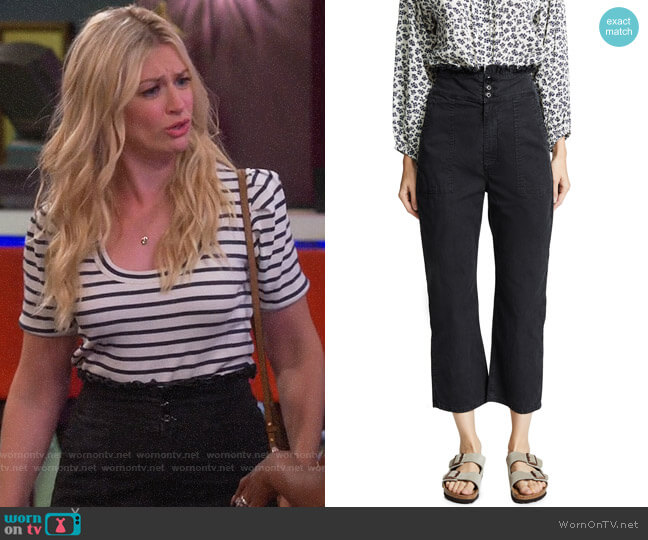 The Great The High Rise Ruffle Army Pants worn by Gemma (Beth Behrs) on The Neighborhood