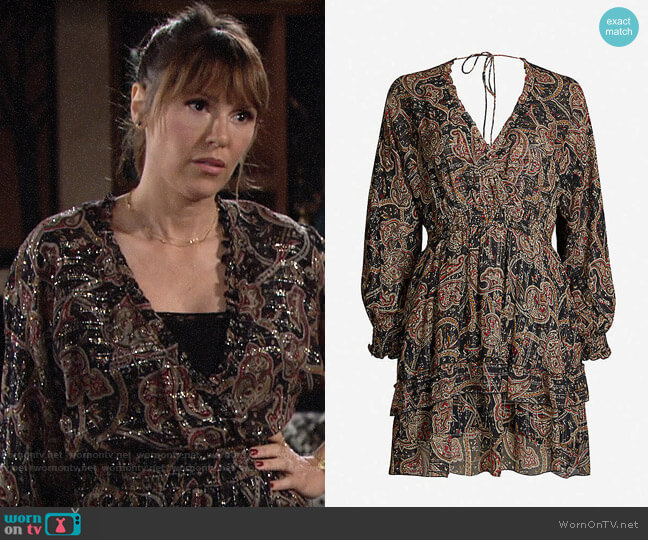 The Kooples Printed Light Black Dress worn by Chloe Mitchell (Elizabeth Hendrickson) on The Young & the Restless