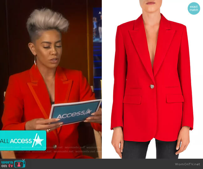Single Heart-Shaped Button Crepe Blazer by The Kooples  worn by Sibley Scoles  on Access Hollywood