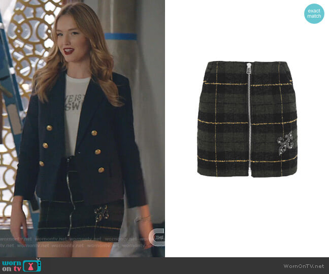 Tartan Tweed Wool-Blend Skirt by The Kooples worn by Kirby Anders (Maddison Brown) on Dynasty