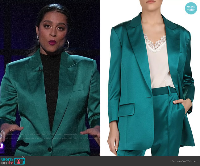 The Kooples Satin Blazer worn by Lilly Singh  on A Little Late with Lilly Singh