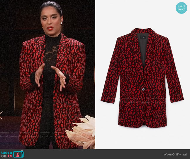 The Kooples Leopard Print Floaty Jacket worn by Lilly Singh  on A Little Late with Lilly Singh