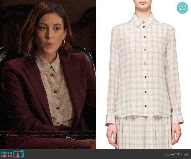 The Row Jonas Squiggle Print Button-Front Silk Shirt worn by Sydney Strait (Caitlin McGee) on Bluff City Law