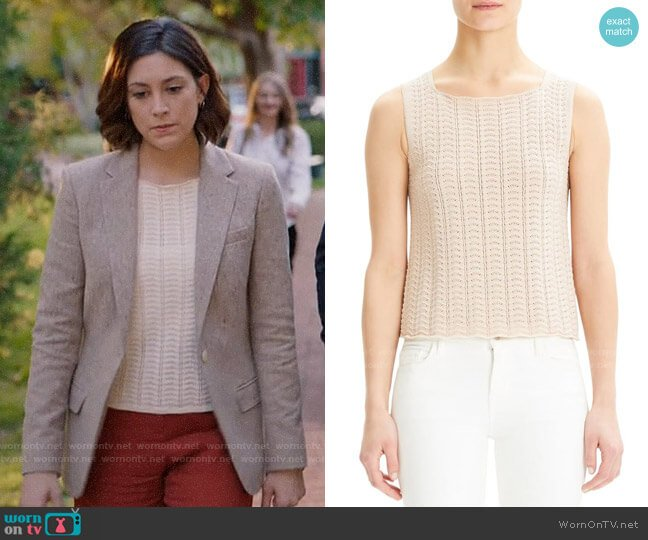 Theory Crochet Sleeveless Cotton Blend Sweater worn by Sydney Strait (Caitlin McGee) on Bluff City Law