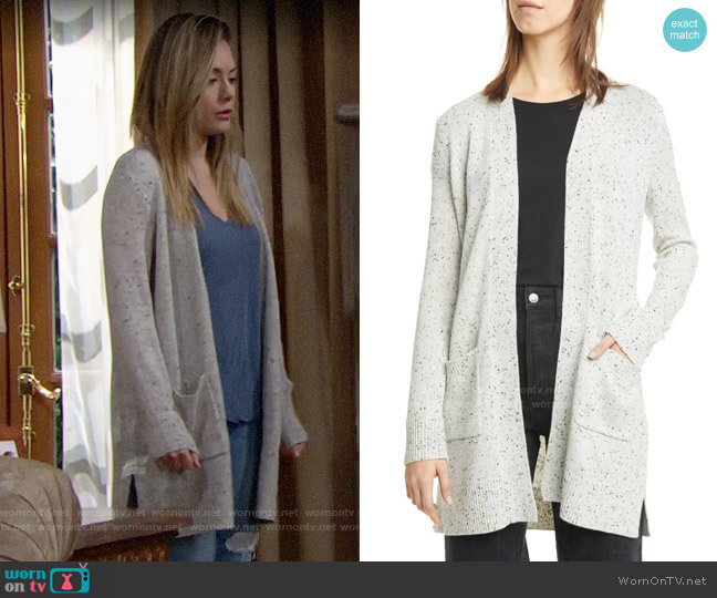 Theory Donegal Open Front Cashmere Cardigan worn by Hope Logan (Annika Noelle) on The Bold & the Beautiful