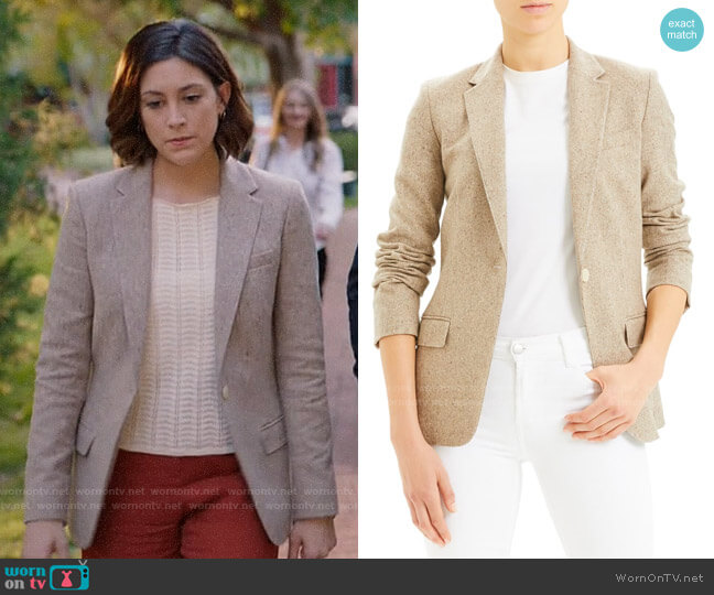 Theory Staple Wool & Silk Blend Blazer worn by Sydney Strait (Caitlin McGee) on Bluff City Law