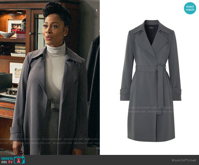 Theory Oaklane Trench Coat worn by Lola Carmichael (Simone Missick) on All Rise
