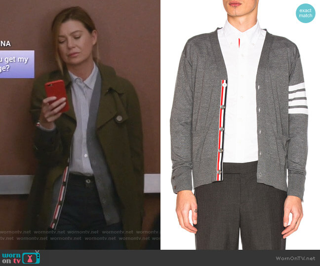 Classic Merino Cardigan by Thom Brown worn by Meredith Grey (Ellen Pompeo) on Greys Anatomy