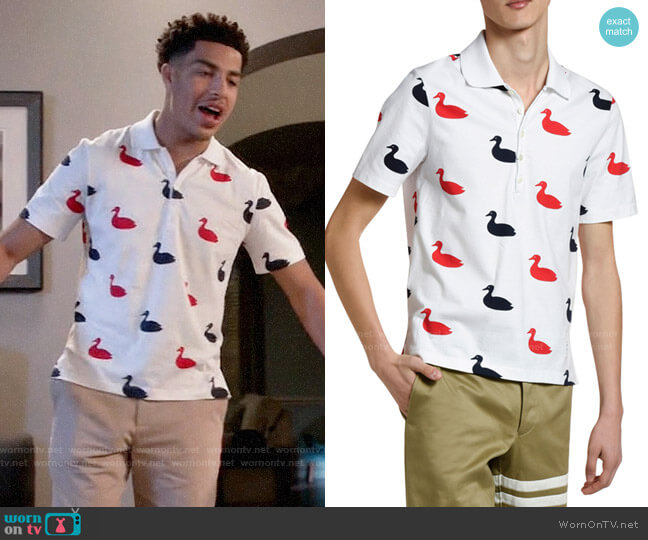 Thom Browne Duck Print Polo Shirt worn by Andre Johnson Jr (Marcus Scribner) on Blackish