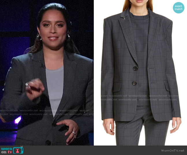 Tibi Windowpane Menswear Blazer worn by Lilly Singh  on A Little Late with Lilly Singh