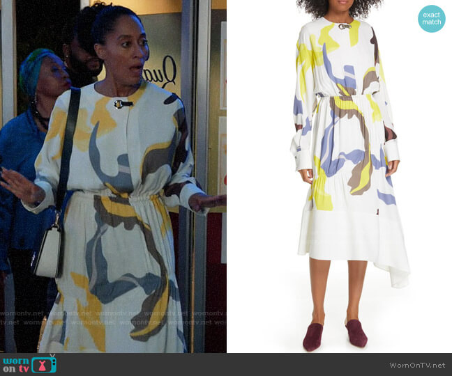 Tibi Ant Farm Dress worn by Rainbow Johnson (Tracee Ellis Ross) on Blackish