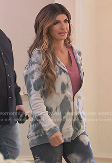 Teresa's gray tie dye hoodie on The Real Housewives of New Jersey