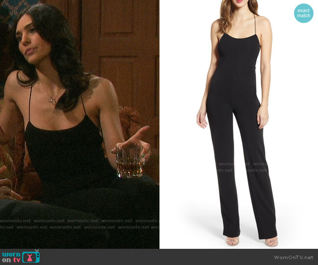 Tiger Mist Blanche Strappy Back Crepe Jumpsuit worn by Gabi Hernandez (Camila Banus) on Days of our Lives