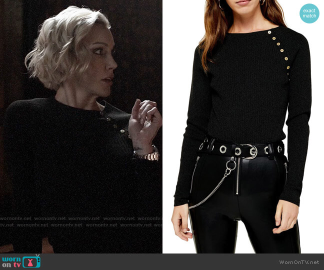 Topshop Button Ribbed Pullover worn by Laurel Lance (Katie Cassidy) on Arrow