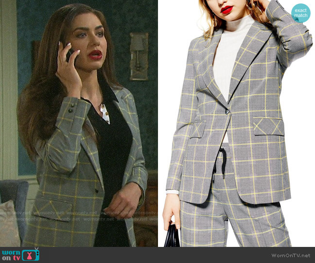 Topshop Windowpane Check Suit Jacket worn by Ciara Brady (Victoria Konefal) on Days of our Lives