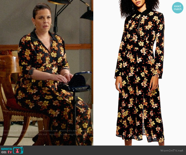 Topshop Autumn Floral Midi Dress worn by Sara Castillo (Lindsay Mendez) on All Rise