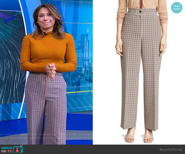 Plaid Wide Leg Pants by Tory Burch worn by Ginger Zee  on Good Morning America