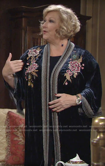 Traci's floral embroidered velvet kimono on The Young and the Restless