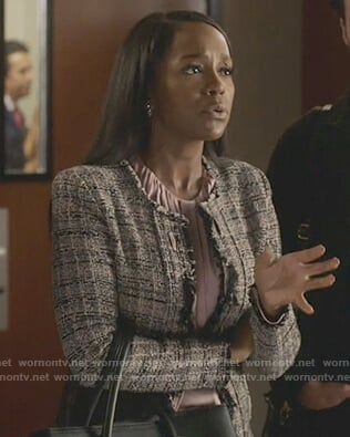 Michaela's pink tweed jacket on How to Get Away with Murder