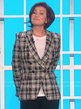 Sharon's check metallic tweed blazer on The Talk